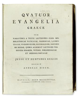 BIBLE IN GREEK.  Quatuor Evangelia Graece.  1788