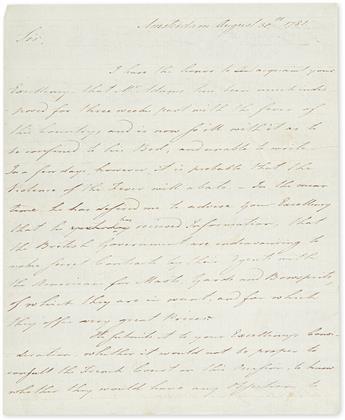 (AMERICAN REVOLUTION--1781.) Thaxter, John. Letter to Benjamin Franklin on behalf of John Adams, to cut off British naval supplies.