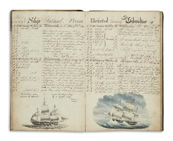 (DRAWINGS--SHIPS LOG.) Hodgson, William. Journal of a Voyage, from Bristol to the Mediterranean, Anno Domini 1819
