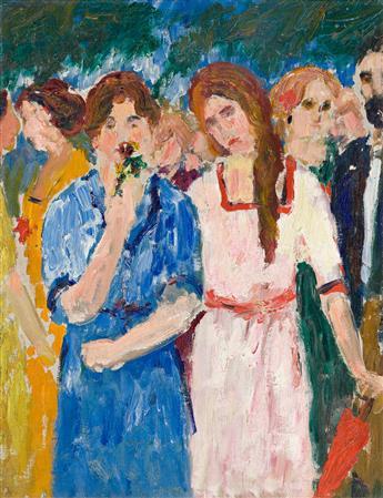 ABRAHAM WALKOWITZ (1878-1965) Figures Gathering (Strollers).