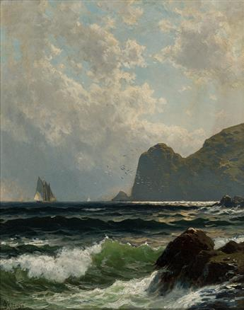 ALFRED THOMPSON BRICHER Schooner off the Coast, Bishops Rock, Grand Manan Island.