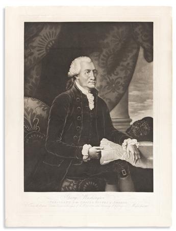 (WASHINGTON.) Pair of matching Savage prints of Washington and Franklin.
