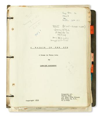(LITERATURE AND POETRY.) HANSBERRY, LORRAINE. A Raisin in the Sun, a Drama in Three Acts. The Stage Directors Copy.