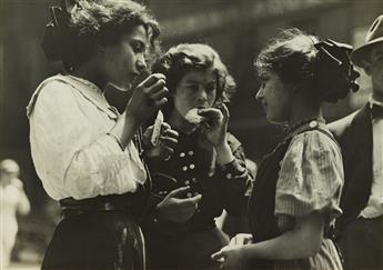 LEWIS W. HINE (1874-1940) Noon hour in East Side factory district, N.Y.