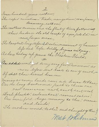 WHITMAN, WALT. Signature and holograph corrections on a secretarys manuscript draft of his poem, A Thought of Columbus, in blue penc