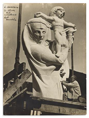 """BOURDELLE, ANTOINE. Photograph Signed and Inscribed, """"To the architect / G Olivier / cordially / Ant / Bourdelle,"""" in French,"""