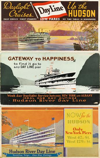 DESIGNERS-UNKNOWN-HUDSON-RIVER-DAY-LINE-Group-of-3-window-cards-Circa-1920s-Each-approximately-11x21-inches-28x53-cm