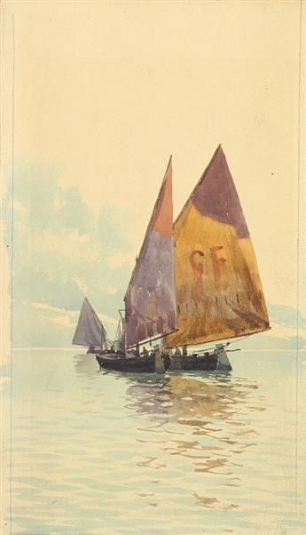 WALTER-FRANCIS-BROWN-Three-Venice-boating-scenes