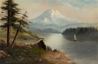 GRAFTON TYLER BROWN (1841 - 1918) Untitled (Sailboat on a Mountain Lake).