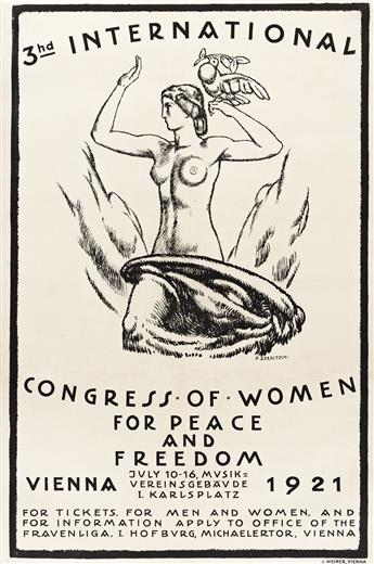 FRITZ ZERRITSCH (1888-1985).  3HD INTERNATIONAL CONGRESS OF WOMEN / FOR PEACE AND FREEDOM. 1921. 37½x24¾ inches, 95¼x62¾ cm. J. Weiner,