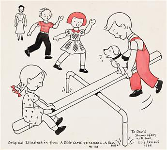 """LOIS LENSKI (1893-1974) """"Then it was time for recess. Spot sat on the seesaw with Jane and Davy. He went up and down."""" [CHILDRENS]"""
