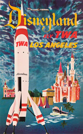 David Klein (1918-2005).  DISNEYLAND / FLY TWA / LOS ANGELES. Circa 1955.