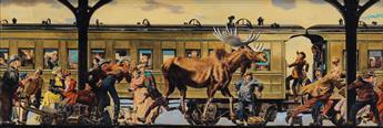 ALBERT DORNE. The Intruding Moose.  Illustration for The Saturday Evening Post.