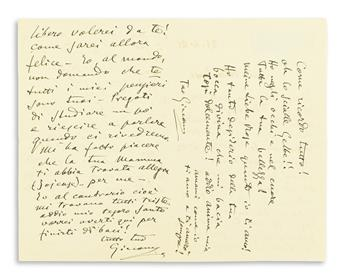 PUCCINI, GIACOMO. Autograph Letter Signed, twice, Giacomo, to Rose Ader (My sweet Rosa), in Italian and German,