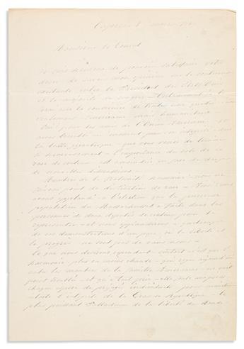 """(REVOLUTIONARIES.) GARIBALDI, GIUSEPPE. Autograph Letter Signed, """"G. Garibaldi,"""" to """"Dear Mr. Consul,"""" in French,"""