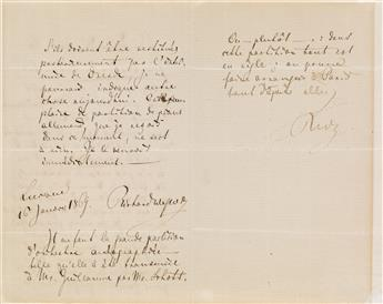 WAGNER, RICHARD. Autograph Letter Signed, twice (in full and R.W.), to publisher Gustave-Alexandre Flaxland, in French,