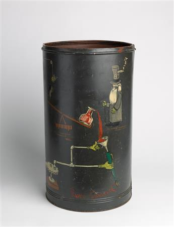 RUBE GOLDBERG. Metal can with original whimsical painting of mousetrap.