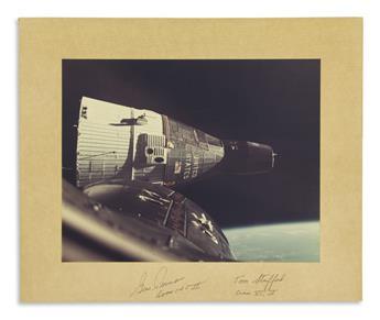 (ASTRONAUTS--APOLLO-X--GEMINI)-Two-color-Photographs-Signed-