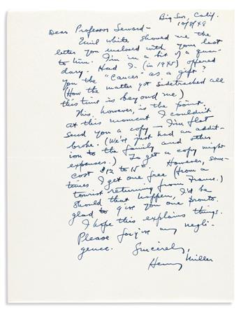 "MILLER, HENRY. Autograph Letter Signed, to ""Dear Professor Seward,"""