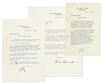 ROOSEVELT, FRANKLIN D. Group of three Typed Letters Signed, FDR or Franklin DRoosevelt, as President, to journalist Lowell Mellett,