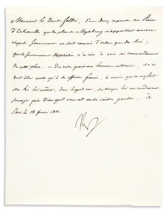 """NAPOLÉON. Letter Signed, """"Nap,"""" to his Minister of War the Duc de Feltre, in French,"""