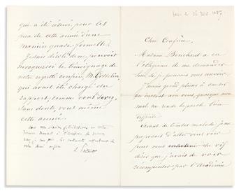 """(MEDICINE.) PASTEUR, LOUIS. Letter Signed, """"L. Pasteur,"""" with 4-line autograph postscript, to """"Dear Colleague,"""" in French,"""