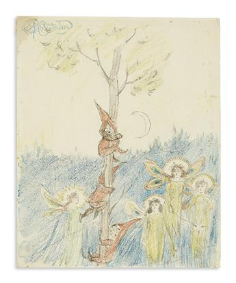 CHESTERTON, GILBERT KEITH. Group of 11 colored pencil or graphite drawings, including two Signed, GKChesterton,