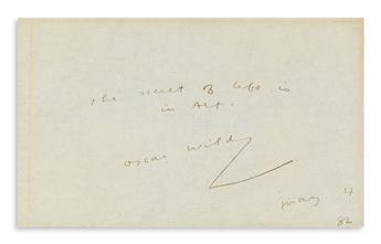 OSCAR WILDE (1854-1900) Autograph Quotation dated