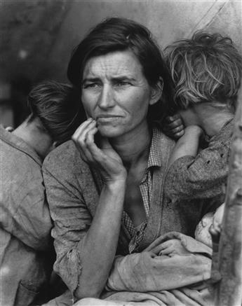 (DOROTHEA LANGE) (1895-1965) 5 promotional photos, including Migrant Mother, accompanied by Dorothea Lange: Photographs of a Lifetime.