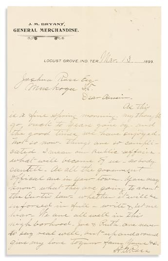 (AMERICAN INDIANS.) Papers of Joshua Ross, a Muskogee merchant and prominent Cherokee.
