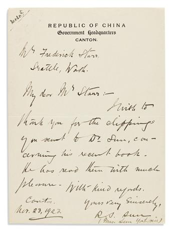 "(SUN YAT-SEN.) Rosamond Soong Ching-Ling. Autograph Letter Signed, ""R.S. Sun / (Mrs. Sun Yet-sen),"" to anthropologist Frederick Starr,"