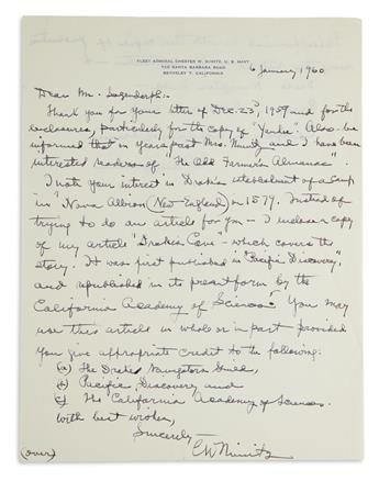 (WORLD-WAR-II)-CHESTER-W-NIMITZ-Two-items-Autograph-Letter-S