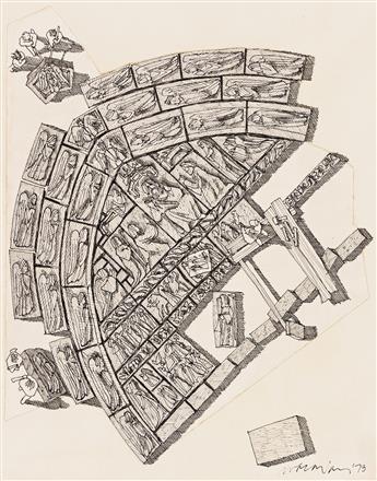"DAVID MACAULAY (1946- ) ""Tympanum."" [ARCHITECTURE / CATHEDRALS]"