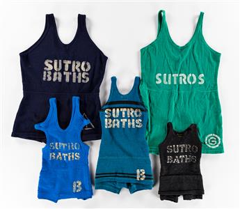 DESIGNERS UNKNOWN. SUTRO BATHS. Group of five original bathing suits. Sizes vary. Two adult-sized and 3 child-sized suits.