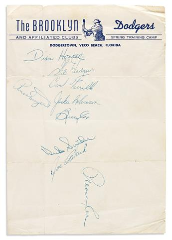 (BROOKLYN DODGERS.) Dodgers training camp stationery Signed by Jackie Robinson, Duke Snider, Gil Hodges, Preacher Roe, Carl Furillo, Jo