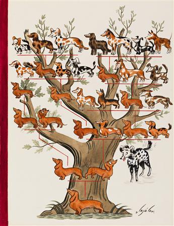 CONSTANTIN ALAJALOV (1900-1987) Family Tree. [COVER ART / NEW YORKER / DOGS]