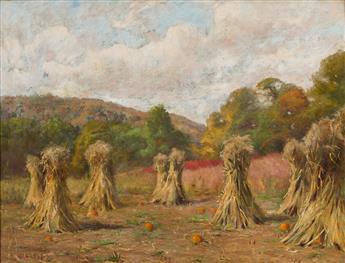 JONAS JOSEPH LAVALLEY Autumn Landscape, Field with Haystacks and Pumpkins.