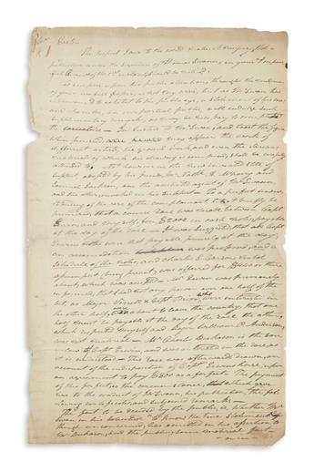 JACKSON, ANDREW. Autograph Letter Signed, to editor Thomas Eastin (Mr. Eastin),