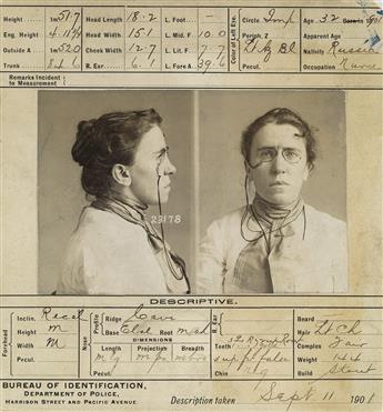 (EMMA GOLDMAN) Mug shot of Emma Goldman, The High Priestess of Anarchy.