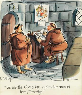 (CARTOON-MONK-PIN-UP)-BARNEY-TOBEY-We-use-the-Gregorian-cale