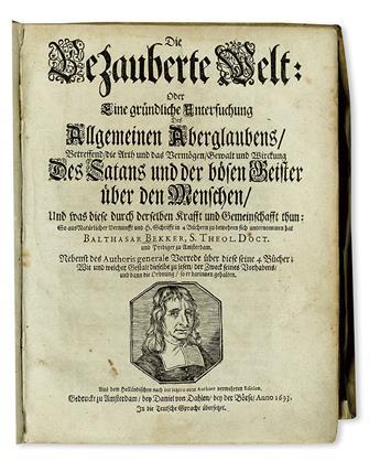 BEKKER, BALTHASAR. Die bezauberte Welt.  1693