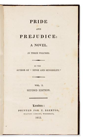 AUSTEN, JANE. Pride and Prejudice: A Novel. In Three Volumes. By the Author of Sense and Sensibility.