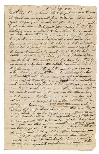 (MASSACHUSETTS.) Hoyt, Epaphras. An officers long eyewitness description of the principal battle of Shays Rebellion.