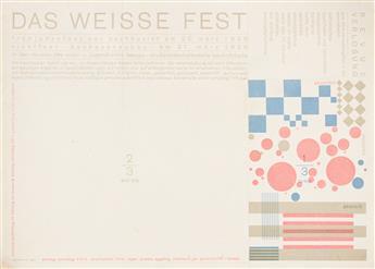 HERBERT BAYER (1900-1985).  DAS WEISSE FEST. Invitation. 1926. 8x11 inches, 20¼x28 cm. Bauhausdruck.