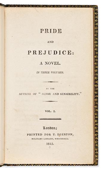 AUSTEN, JANE. Pride and Prejudice: A Novel. In Three Volumes.