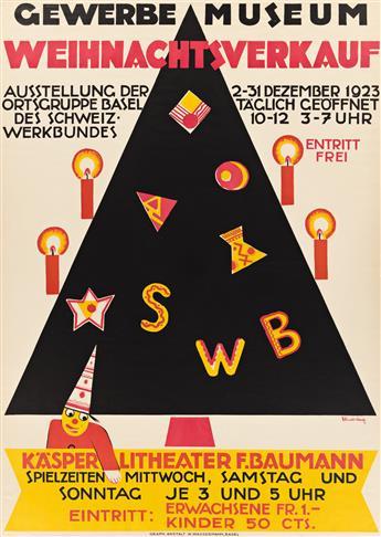 CHARLES HINDENLANG (1894-1960).  GEWERBE MUSEUM WEIHNACHTSVERKAUF. 1923. 50x35½ inches, 127x90¼ cm. W. Wassermann, Basel.