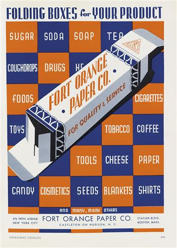 VARIOUS ARTISTS. PACKAGING CATALOG. Book. 1935. 11x8 inches, 29x22 cm. Breskin & Charlton Publishing Corp., New York.
