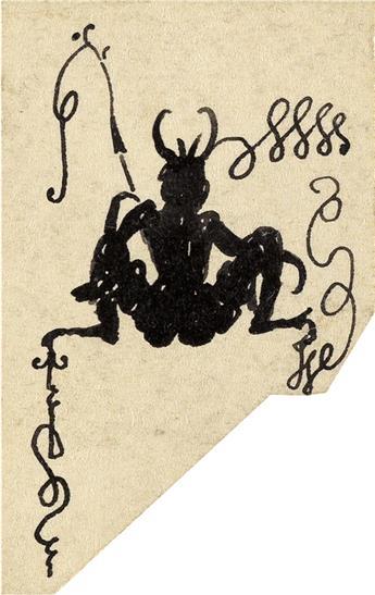 AUBREY BEARDSLEY. Squatting Devil Fishing.