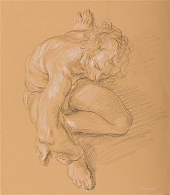 PAUL CADMUS (1904 - 1999) Seated Male Nude.