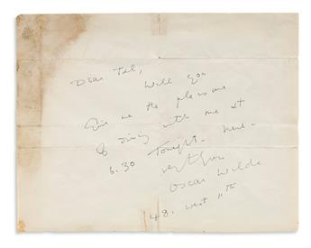 OSCAR WILDE (1854-1900) Autograph Note Signed, to